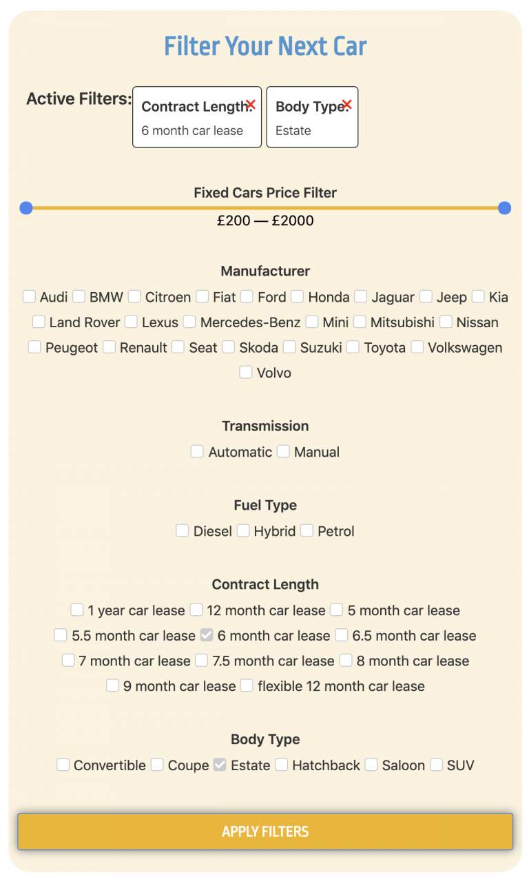 Filter Your Short Term Car Lease
